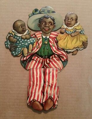 """A Bright Darkie"" Raphael Tuck Black Americana Mechanical Die Cut (Large) 1900's"