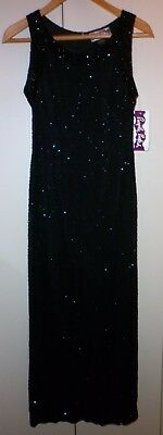 Vintage Lavish Fully Hand Beaded Silk  Evening Dress Size 10 Excellent Condition
