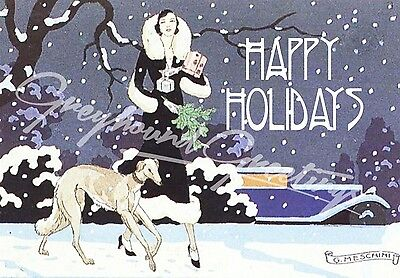 Vintage Altered Art Greyhound and Lady Happy Holidays Cards - Set of 4, with env