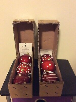 HOMCO Home Interiors Christmas 2 boxes of 3 Red Ball Ornaments NIB 57097