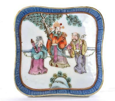 Late 19th Century Chinese Famille Rose Porcelain Plate Dish Figure Immortal 福祿壽