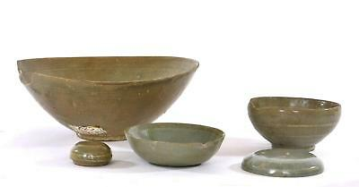 Joseon Dynasty Lot 5 Korean Incised Celadon Pottery Bowl Cover NOT CHINESE AS IS