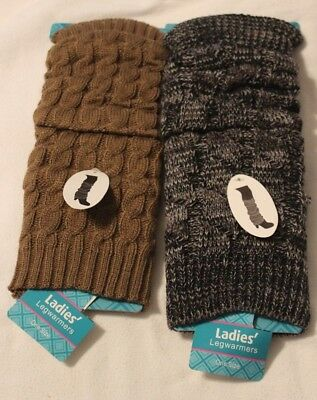 2 Pair Cableknit Boot Leg Warmers Brown & Grey NEW with Tags! Dance