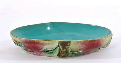 Late 19C Chinese Famille Rose Turquoise Glaze Relief Porcelain Peach Plate Dish
