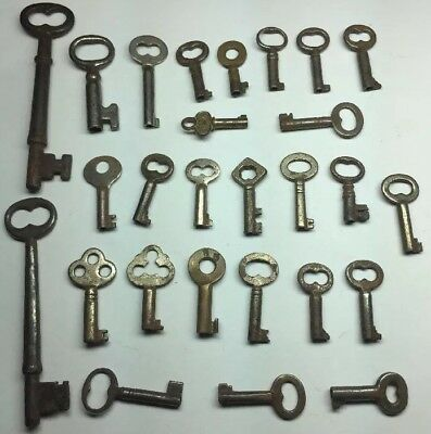 Antique Vintage Lot of 27 Hollow Barrel Skeleton Keys Steel Brass Steampunk!!