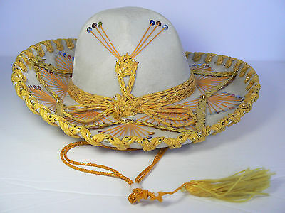 "Authentic Pigalle Xxxxx Mexican Mariachi 15"" Sombrero Sequins Tan Gold!"
