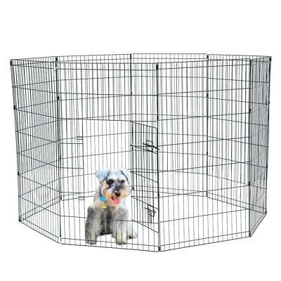 """42"""" Pet Dog Cat Tall Wire Fence Folding Exercise Yard Play Pen 8 Panel W/Door"""
