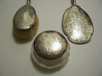 Vintage Sterling Silver Charles S Green Mirror / Powder Jar / Brush  Dresser Set