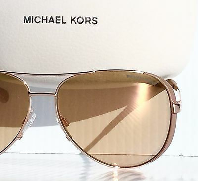 NEW* Michael Kors Rose Gold 59mm Aviator w RoseGold Lens Women's Sunglass MK5004