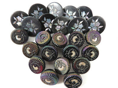 Mix Lot Vtg Antique Buttons Black Glass Rubber Mop Shell Inlaid