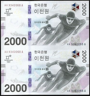 South Korea Pyeongchang 2018 Olympic Winter Games Banknote Uncut Sheet 2 Note
