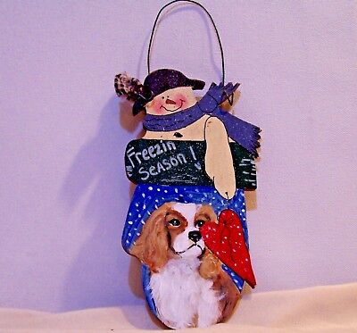 Cavalier King Charles Spaniel hand painted Christmas solid wood wall art dog