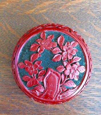 Vintage Chinese Carved Red Cinnabar & Blue Enamel Covered Box Scenic Lid