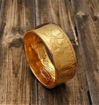 """1 oz American Eagle Gold Coin Ring 22K - Polished - """"Heads"""" - Size 8 to 14"""