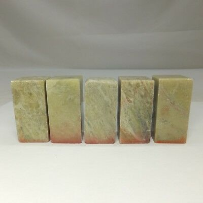 D868: Chinese green stone ware five seals with good natural tone