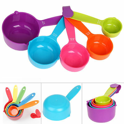 5Pcs Colorful Measuring Cup Spoons Set Built Nested Baking Cooking Kitchen Tool