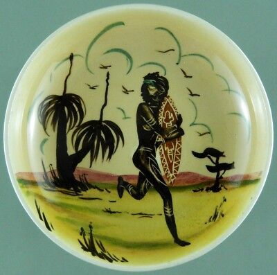 Guy Boyd Pin Dish Australian Pottery Aboriginal Woman Basket Hand Painted 50s 60