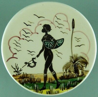 Guy Boyd Dish Australian Aboriginal Woman Goanna Hand Painted Signed Joan H