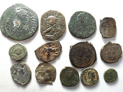 Lot of 13 Quality Ancient Roman Byzantine Coins; Larger; 87.6 Grams!
