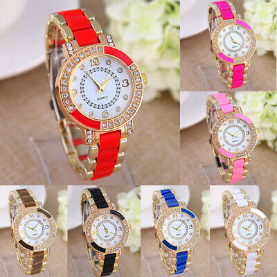 Womens Ladies Fashion Luxury Ceramic Crystal Rhinestone Quartz Wrist Watch