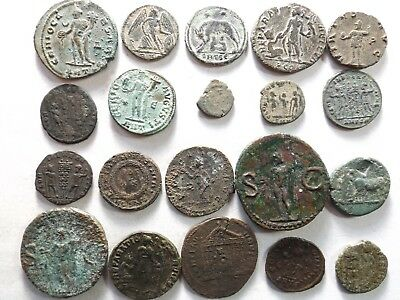 Lot of 20 Mixed Quality Ancient Roman Coins; Agrippa/Augustus...; 76.1 Grams!