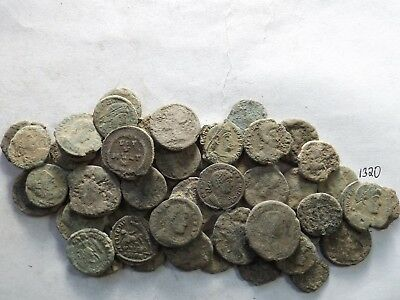 Lot of 50 Lower Quality Uncleaned Ancient Roman Coins; 108.8 Grams!