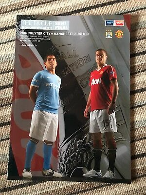 2011 FA CUP SEMI-FINAL PROGRAMME Manchester United vs Manchester City. MINT