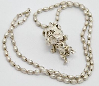 Fabulous Funky Solid Silver Bulldog Pendant On Ball Chain Necklace - Great Gift!