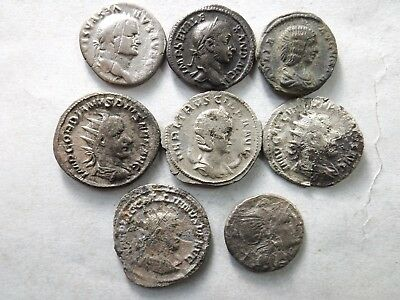 Lot of 8 Mixed Quality Ancient Roman Silver Coins; Vespasian...; 24.3 Grams!