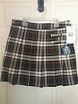 "French Toast  Girls' ""Buckled"" Brown Plaid Scooter Skirt sz 14 1/2 Plus"