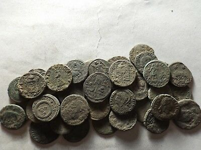 Lot of 40 Higher Quality Uncleaned Late Roman Coins; 101.5 Grams!