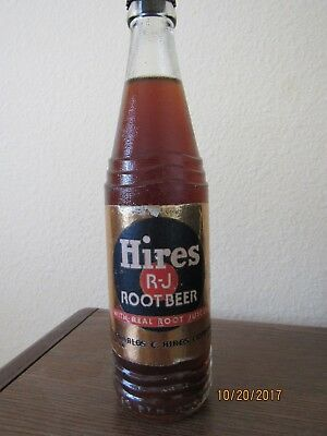 OLD 1930's HIRES ROOT BEER BOTTLE  5 CENTS FULL AND UNOPENED