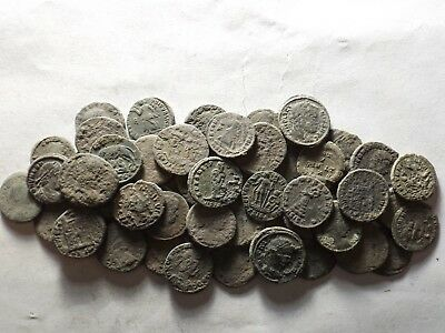 Lot of 50 Higher Quality Uncleaned Late Roman Coins; 123.9 Grams!