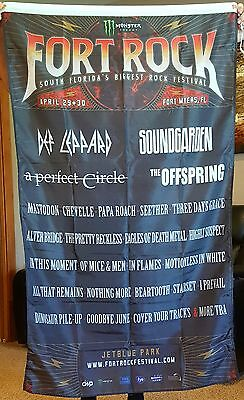 Fort Rock Lineup Flag Huge 3x5ft Soundgarden Def Leppard Perfect Circle Seether