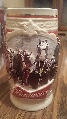 2015 Budweiser bud Holiday Stein Christmas Beer  NEW.SMALL FACTORY FLAW With Box