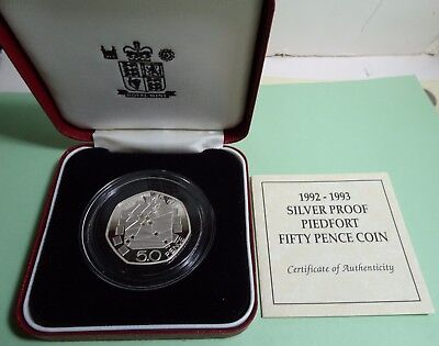 1992-1993 50 pence PIEDFORT Sterling Silver Proof Coin +COA &BOX MINTAGE 15,000