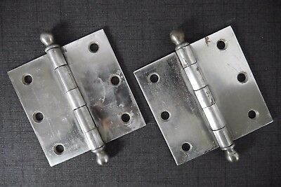"Antique Vintage 'Sargent' Ball Tip Hinges 3-1/2"" X 3-1/2"" Early 1900's Pair C"