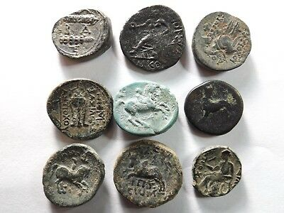 Lot of 9 Higher Quality Greek Coins; Alexander III, Philip, Bull; 51.4 Grams!