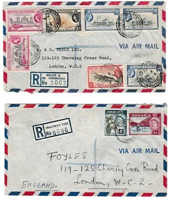 British West Indies covers - registered, airmails etc. various stamps and pmks