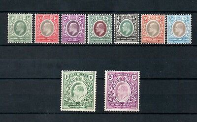 EAST AFRICA AND UGANDA 1904-09  KEVII SG 17,18,19,22,23,24,25,26 and 27 MH *