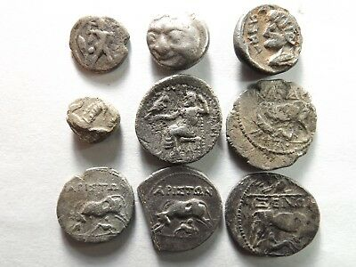Lot of 9 Quality Greek Silver Coins; Poseidon, Gorgon, Zeus, Cows; 23.1 Grams!
