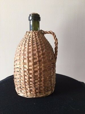 Vintage Wicker Covered Wine Bottle Demijohn Green Glass about 20 ounces