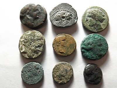 Lot of 9 Low Quality Greek Coins; Eagles, Bulls, Lyre; 45.0 Grams!