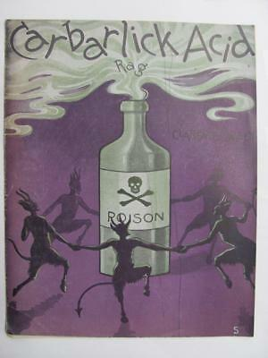 CARBARLICK (Carbolic) ACID RAG Devils Poison Bottle Skull Sheet Music RARE 1904