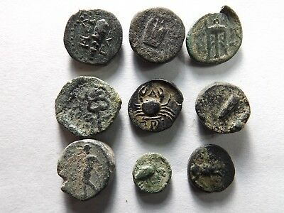 Lot of 9 Higher Quality Greek Coins; Crab, Club, Altar, Lyre; 13.1 Grams!