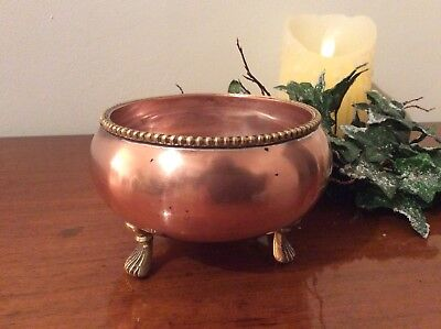 A Small Decorative Vintage Copper Bowl On Three Brass Feet  P.i.a