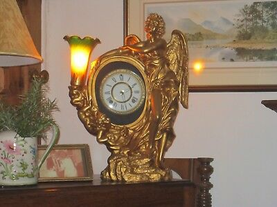 Stunning Antique Gilt Figureen Mantel/ Table Clock In Very Good Working Order
