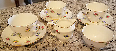 8 Pieces of Crown Staffordshire Fine Bone China 3 Tea Cups 3 Saucers 1 Creamer +
