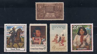 Native American Indians - Geronimo, Chief Joseph, Stand Waite +  (5 U.s. Stamps)