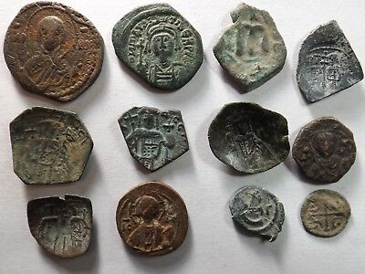 Lot of 12 Mixed Quality Roman Byzantine Coins; 28.8 Grams!